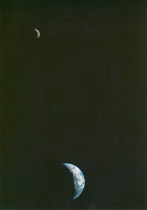 This picture of the Earth and Moon in a single frame, the first of its kind ever taken by a spacecraft, was recorded September 18, 1977, by NASAs Voyager 1 when it was 7.25 million miles (11.66 million kilometers) from Earth.